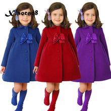цена на Baby Girl Clothes Autumn Dress Kids Woolen Bow Dresses for Girls Children Princess Dress Jackets Toddler Girl Winter Dress Coats