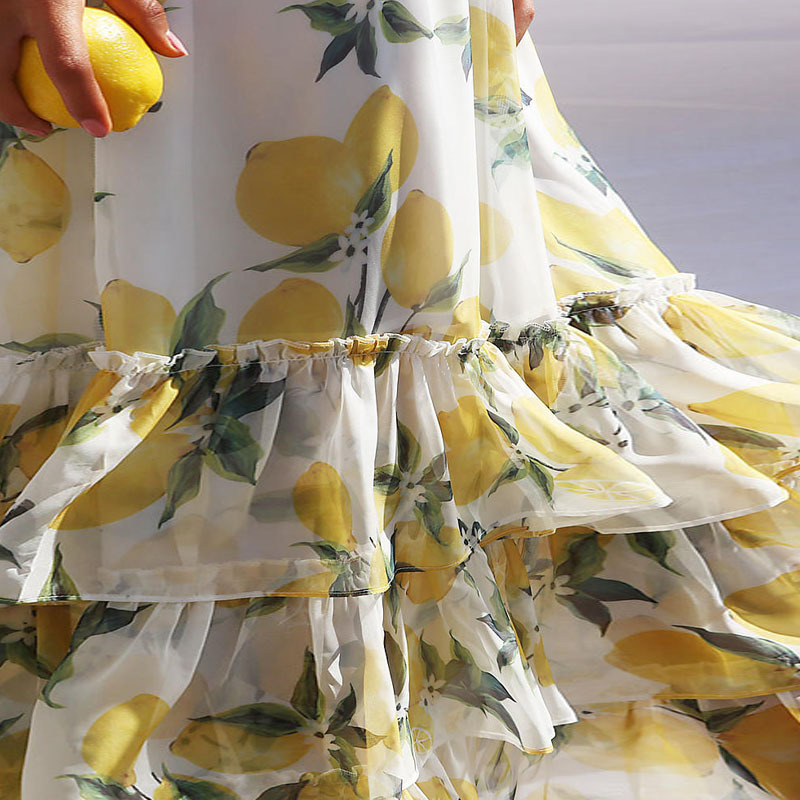 2019 Lemon Print Summer Vintage Casual O Neck Dress Robe Femme Women Retro Elegant Party Vestidos Office Dresses Vestido Robe in Dresses from Women 39 s Clothing