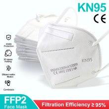 Mascarilla facial FFP2 KN95, antipolvo, antiniebla, transpirable, 100 Uds.