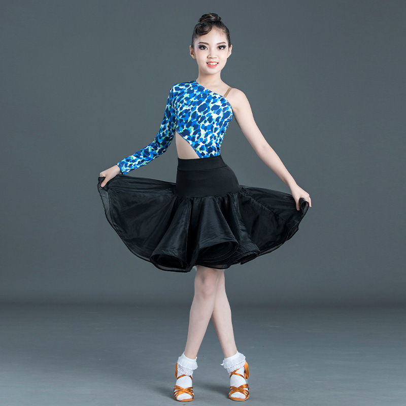 Latin Dance Costume Girls Leopard Print Puffy Skirts Professional Latin Competition Dance Dress Performance Practice Wear SL2349