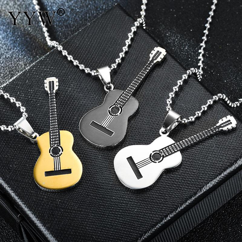 Men <font><b>Necklace</b></font> <font><b>Guitar</b></font> Pendant <font><b>Titanium</b></font> <font><b>Steel</b></font> Ball Chain Fashion Jewelry Musical Instrument Pendant <font><b>Unisex</b></font> <font><b>Necklace</b></font> 70inch image