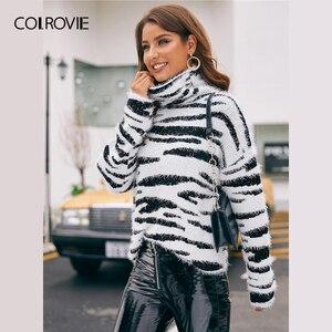 Image 4 - COLROVIE גבוהה צוואר פלאפי לסרוג זברה דפוס סוודר נשים 2019 חורף זוהר סוודרים ארוך שרוול גבוה רחוב סוודרים