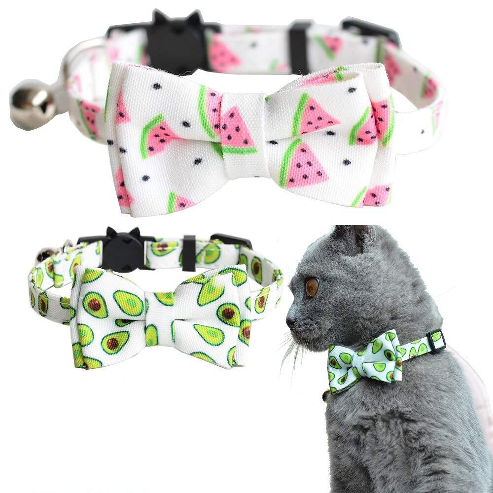 Corbata de moño Collar para gatos escapada con Bell y pajarita diseño a cuadros de seguridad ajustable Kitty gatito collares (6,8