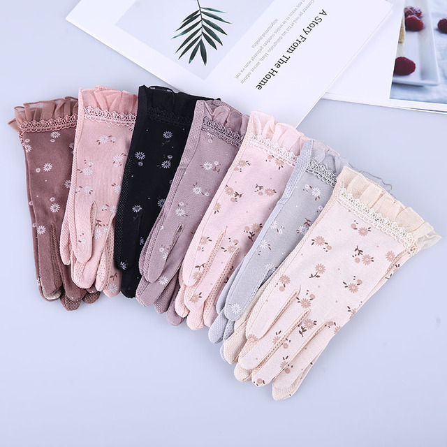 2020 New Fashion Women's Summer Driving Gloves Non-slip Block UV Touch Screen Gloves Cotton Gloves Women Breathable Guantes 2