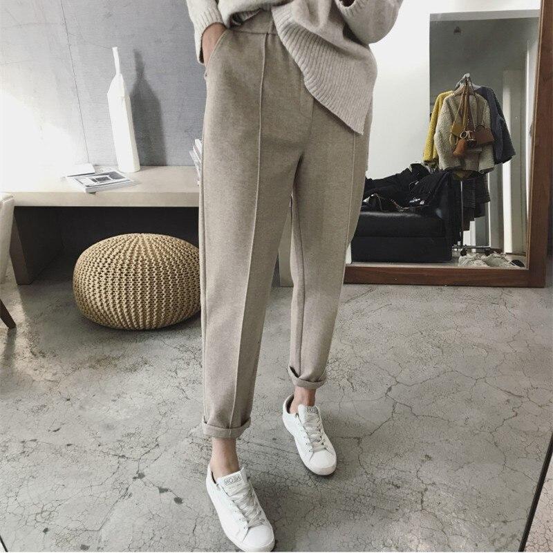 HziriP Plus Size S-3XL Pencil Harem Carrot Pants Casual Woolen Pants Women Autumn Winter Casual Thick High Waist Suit Trousers