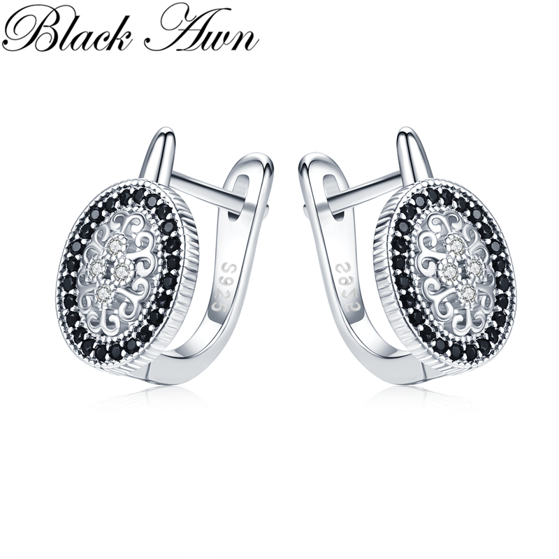 Black Awn Classic 925 Sterling Silver Round Black Trendy Spinel Engagement Hoop Earrings for Women Fine Jewelry Bijoux I149(China)
