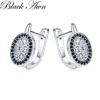 Black Awn Classic 925 Sterling Silver Round Black Trendy Spinel Engagement Hoop Earrings for Women Fine Jewelry Bijoux I149 [black awn] wedding stud earrings for women genuine 925 sterling silver jewelry black spinel stone boucle d oreille brincos t038