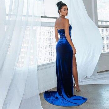 VeryYu Side Split Strapless Bodycon Dress Dresses Fashion  VerYYu