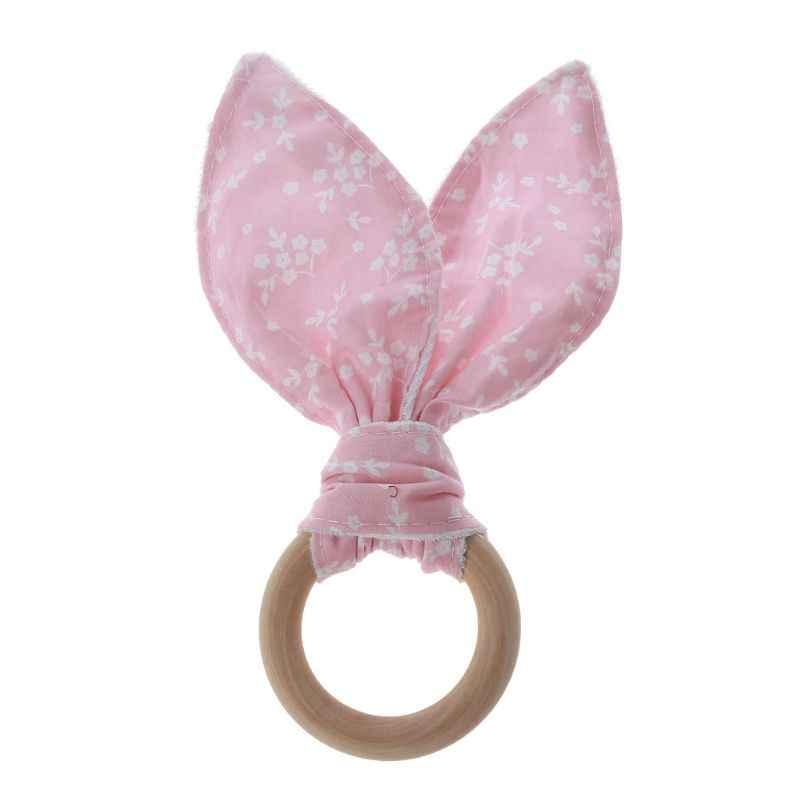 Bayi Anak Laki-laki Anak Perempuan Telinga Kelinci Teether Aman Organik Kayu Teething Ring Mainan Berbagai Warna Pilihan Shower Hadiah