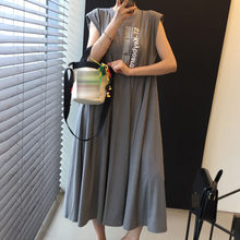 2021 Fashion Casual Printing Summer Women's Dress Japanese Style Loose Solid Color Letter Printing Simple Hot Sale