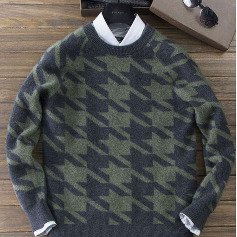 Autumn And Winter New Short Cashmere Sweater Men's Round Neck Thickening Head Men's Sweater Knit Bottoming Large Size Sweater