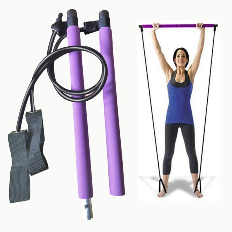 Yoga Pull Rods Gym Pilates Bar Kit With Resistance Band Multi-Functional Portable For Chest-Expanding Fitness Workout