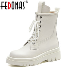 Chunky Heels Boots Platform Casual-Shoes FEDONAS Women Winter Woman Genuine-Leather Fashion
