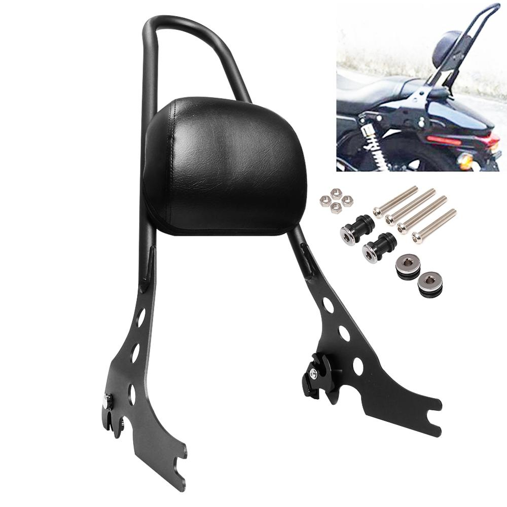 Adjustable Detachable Rear Passenger Backrest Sissy Bar Seat Pad For Harley Sportster XL 883 1200 2004-up