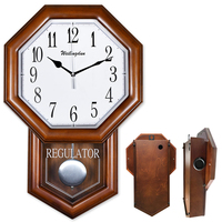 Hourly Chime Wall Clock, quality wooden case, Octagonal withPendulum battery powered, classy home decor, office decorative clock