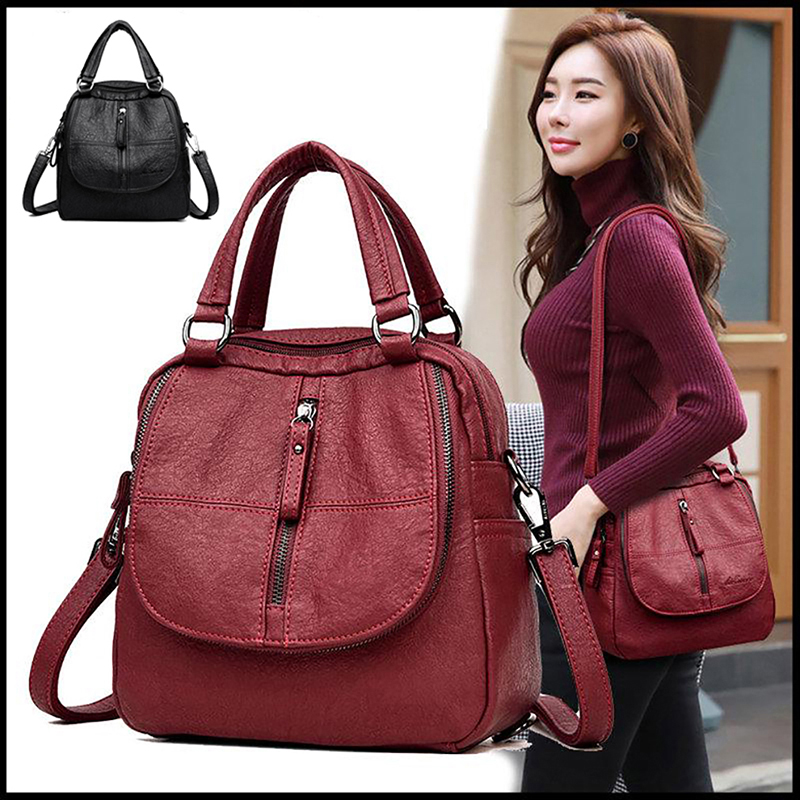 Black Red Women Backpacks Fashion Shoulder Crossbody Bags For Girl Bookbags Solid Small Schoolbags Travel Bag