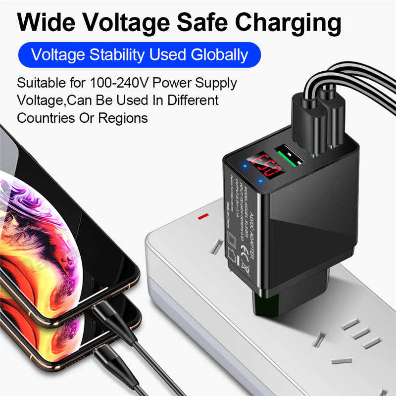 Uslion 3 Cổng USB Sạc Tường Màn Hình Hiển Thị Đèn LED Sạc Nhanh Quick Charge 3.0 Sạc Cực Nhanh Cho Samsung iPhone Xiaomi 3.1A EU Hoa Kỳ cắm Đầu Sạc USB
