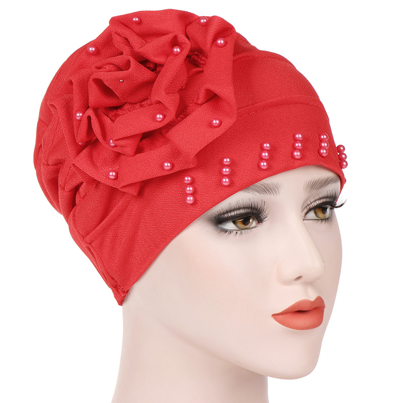 Trendy Flower Muslim Hijab Caps Solid Color Wrap Head Inner Hijabs Cotton Beads Turban Bonnet For Women Islamic Underscarf Cap
