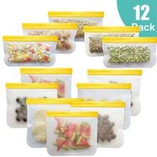 12 шт./компл. силиконовый Пакет для еды, матовый Силиконовый пакет для еды, многоразовый пакет для сохранения свежести в замороженном виде, ге...