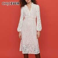CHICEVER Perspective кружевное женское платье с воротником стойкой, с рукавами фонариками, женские Леггинсы для йоги, большие размеры, платья женские...