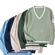 XS-XL Autumn Winter Men's Women's 5 Colors Long Sleeve Knit Tops Pullovers V Neck Sweaters For JK School Uniform Student Clothes