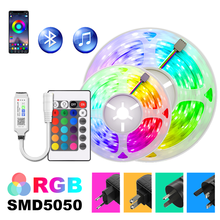 RGB Led Strip Lights 5m-30m APP Controller 5050 LED DC12V Flexible Ribbon Tape Holiday Decorative Luces Lamps set with Adapter