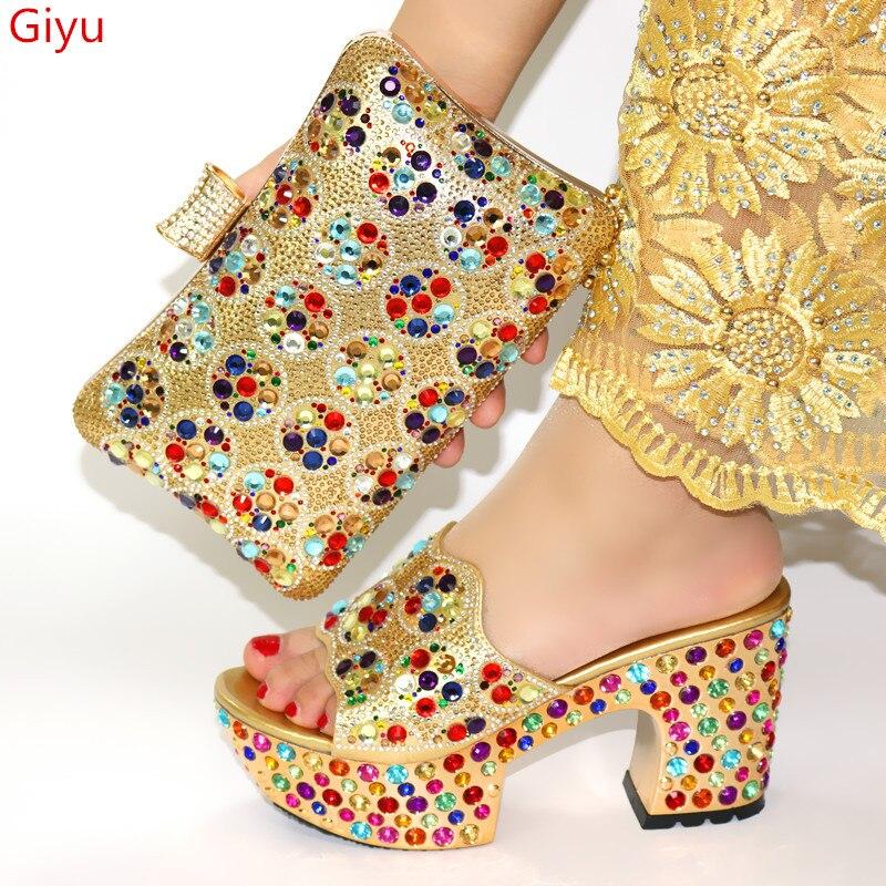 Doershow итальянская обувь и сумочки в тон, комплект из туфель и сумочки в тон, украшенные Стразы в нигерийском стиле женская свадебная обувь в комплекте! HWQ1 8