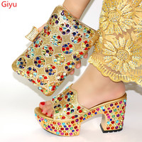 doershow Italian Shoes and Bags To Match Shoes with Bag Set Decorated with Rhinestone Nigerian Women Wedding Shoes set! HWQ1 8