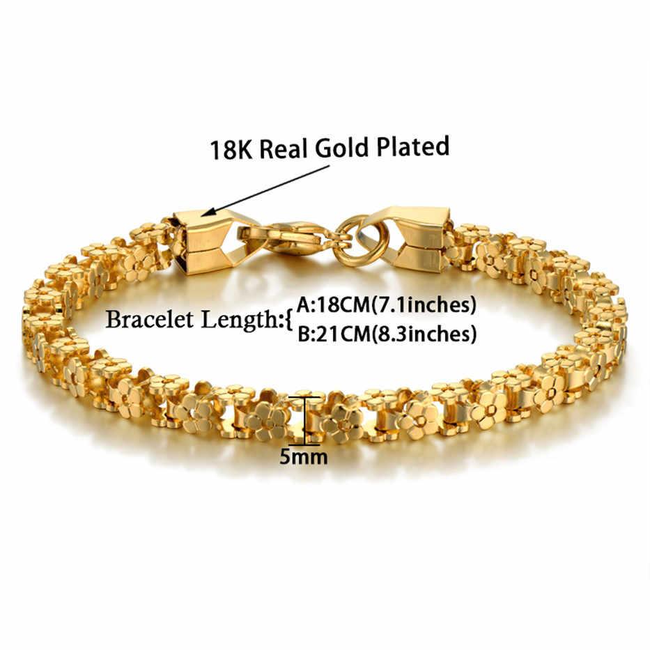 Gouden Armband Trendy Rvs Fietsketting Armbanden Voor Vrouwen Femme Vintage Link Sieraden 7 'Pulseras 5 Mm Vrouwen armband