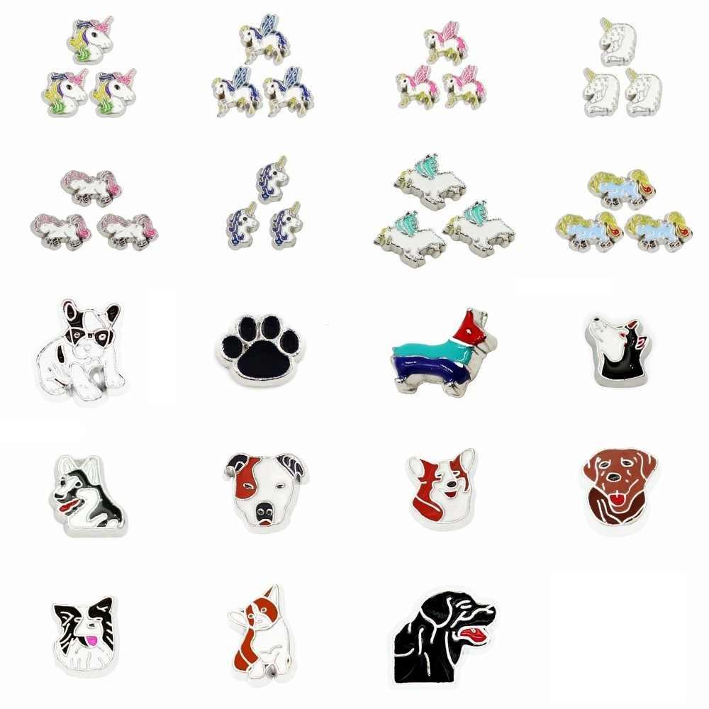 10 個卸売ユニコーン犬猫フローティングロケットメモリメモリロケットのための適合 Diy アクセサリーとして友人のギフト