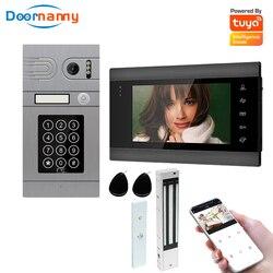 Doornanny wideodomofon z zamkiem do domu apartament WiFi bezprzewodowy wideodomofon domofon hasło System przesuwania AHD960P Tuya