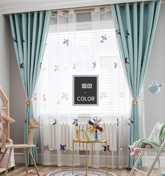 Children Shading Curtain Cartoon Embroidery Airplane for Bedroom and For Living Room Curtain and Tulle Modern and Simple.