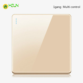 High-grade 1 2 3 4 gang 1 2 way big panel Golden switch socket Type 86 Wall 2.5D Cambered Mirror Toughened glass Computer TV 18