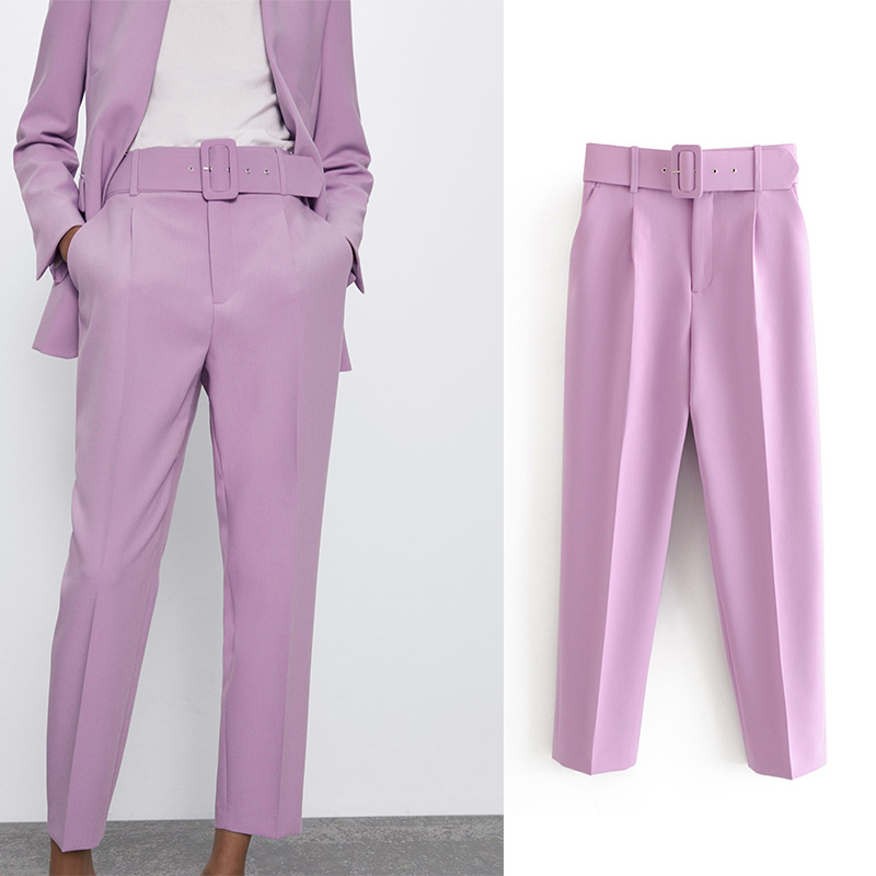 Za 2020 New Women Long Pants With High Wasit Belt Harem Pant Solid Candy Color England Style Casual Summer Ankle Length Trouse