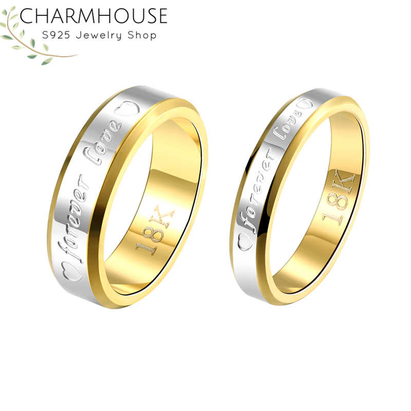 Couple's Ring Sets For Man Women 18K Gold Color GP Forever Lover Wedding Band Engagement Ring Bague Femme Fashion Jewelry Gifts