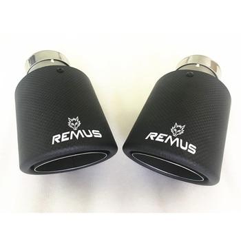 Car universal modiflcation stainless steel single exhaust pipe full carbon  remus logo matt black cover  muffler tip for merc парка merc merc me001emfok62