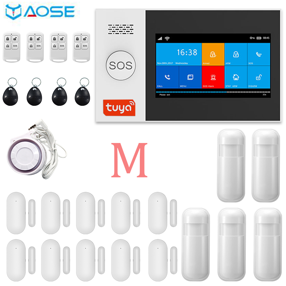 Yaose tuya wifi gsm sistema de alarme segurança em casa sem fio 4.3 polegada tela app controle remoto para wired wifi kit alarme casa
