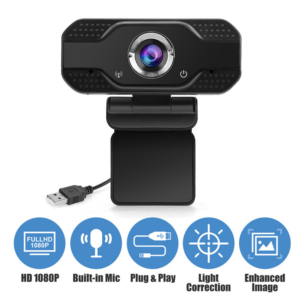 USB Wencam 2MP 1080P HD Computer PC USB 2.0 Webcam Live Online Conference Teaching Portable Web Camera with Microphone