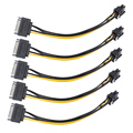 5 шт. Новый 15pin мужской SATA к 8pin(6 + 2) PCI-E Питание кабель 15 см кабель SATA 15-pin до 8 pin кабель 18AWG провод для графической карты