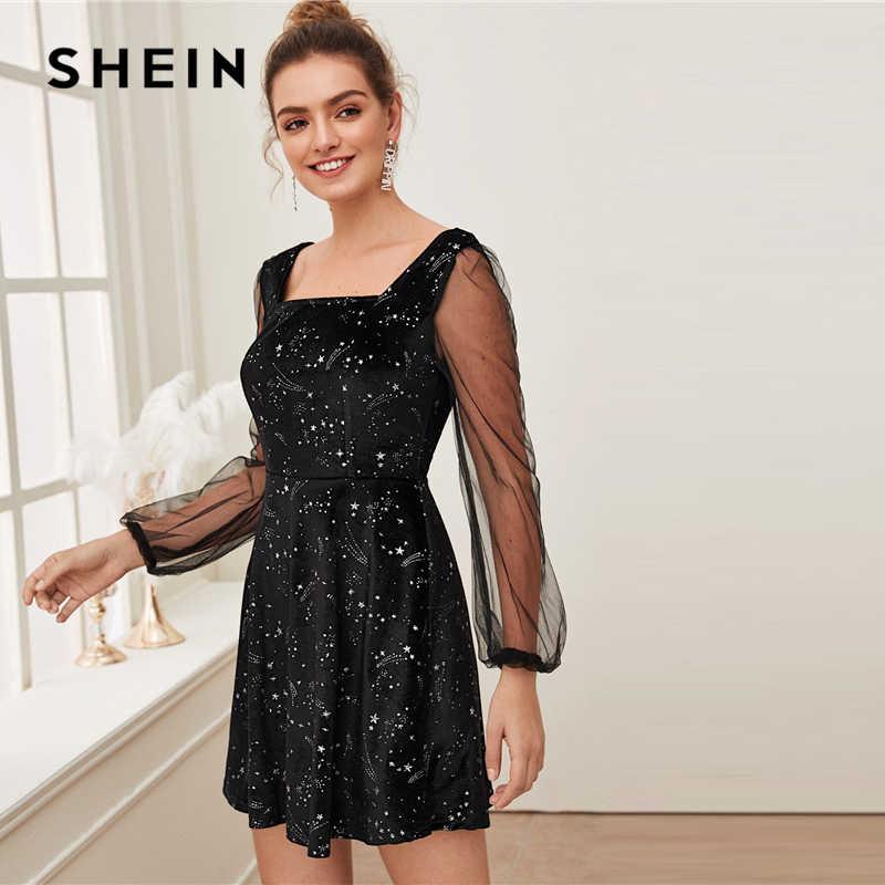 SHEIN Galaxy พิมพ์ความคมชัด SHEER ตาข่ายคริสต์มาสชุดกำมะหยี่ผู้หญิงฤดูใบไม้ผลิสแควร์คอ A สายสั้น Flared Dresses