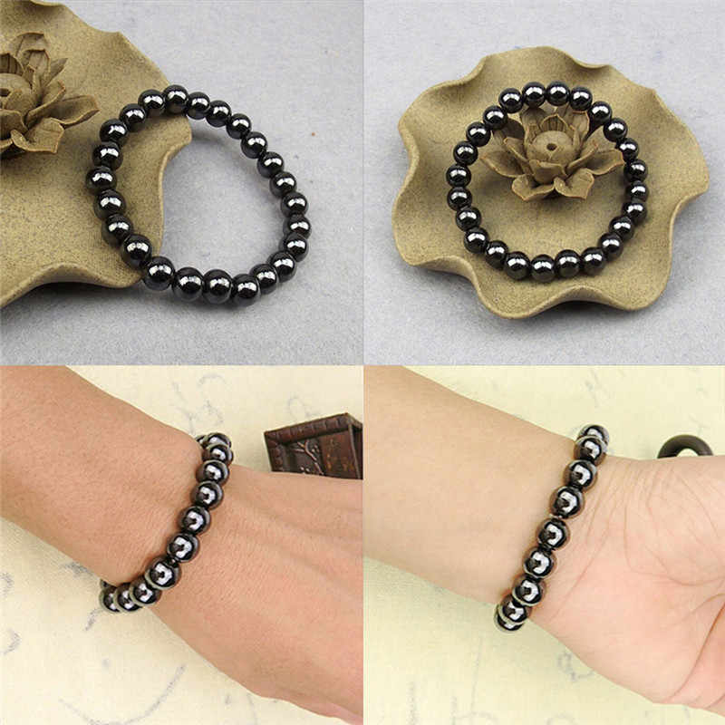 Unisex 1Pc Weight Loss Round Black Stone Luxury Slimming Product Health Therapy Bracelet Health Care