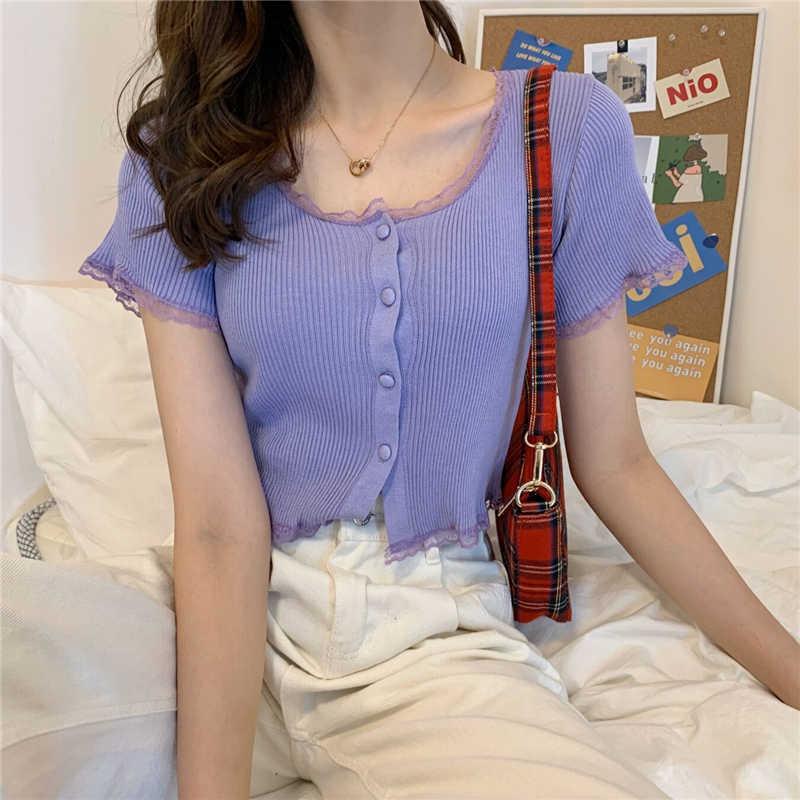 여성 패치 레이스 o-넥 니트 짧은 소매 얇은 스웨터 카디건 레이디 싱글 버튼 스웨터 자르기 탑 여성