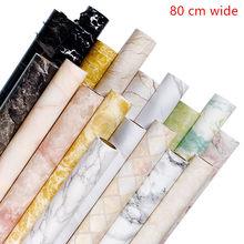 80cm de espessura padrão de mármore auto-adesivo papel de parede cozinha banheiro à prova de óleo à prova dwaterproof água adesivo mesa bancada remodelado