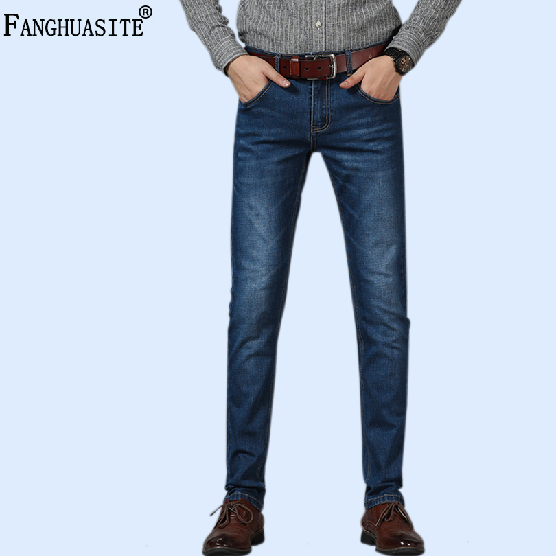 Brand Men Jeans Fashion Men Black Hot Sell Male Trousers Casual Slim Fit Straight Micro Straight Business Casual Jeans F09D