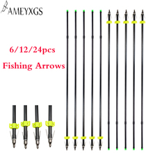 6/12/24 pcs Archery Fishing Arrows OD 8mm ID 6mm Fiberglass Shaft For Compound Recurve Hunting Shooting Accessories