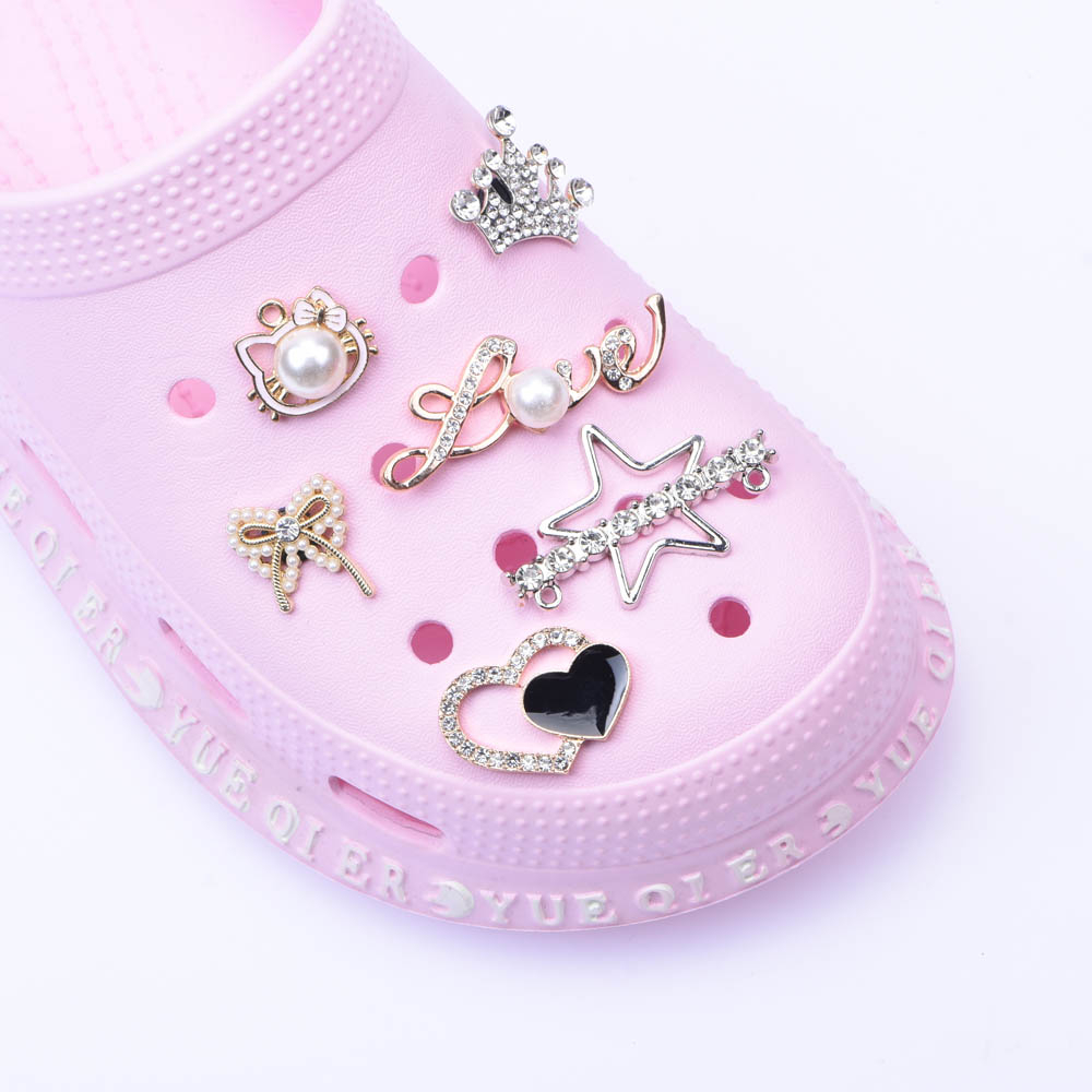 with Heart Chain Shoe Decoration Set  Crocs Charms  Best Gift Pink, Black, White Lovely Ribbons