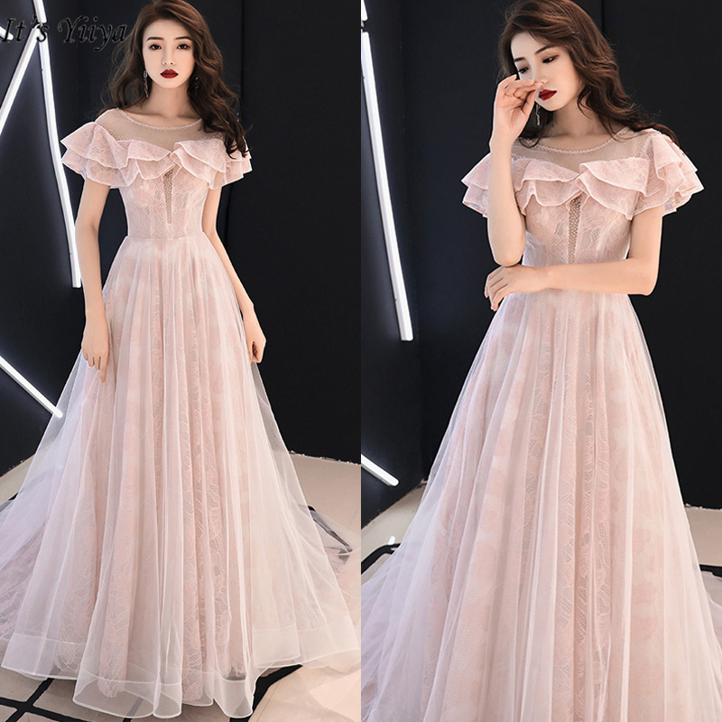It's Yiiya Evening Dress Elegant Plus Size A-Line Women Party Dresses Short Sleeve Court Train Floor-Length Robe De Soiree E781