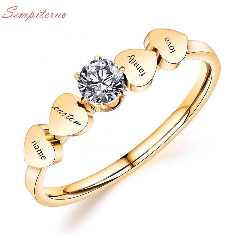 Custom 4 Family Names Ring Engraved Letters Gold Color Stainless Steel Heart Signet Rings For  Family Wedding Personalized Gifts