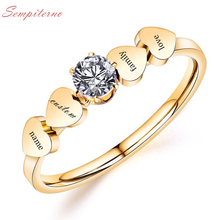 Custom 4 Family Names Ring Engraved Letters Gold Color Stainless Steel Heart Signet Rings For  Wedding Personalized Gifts