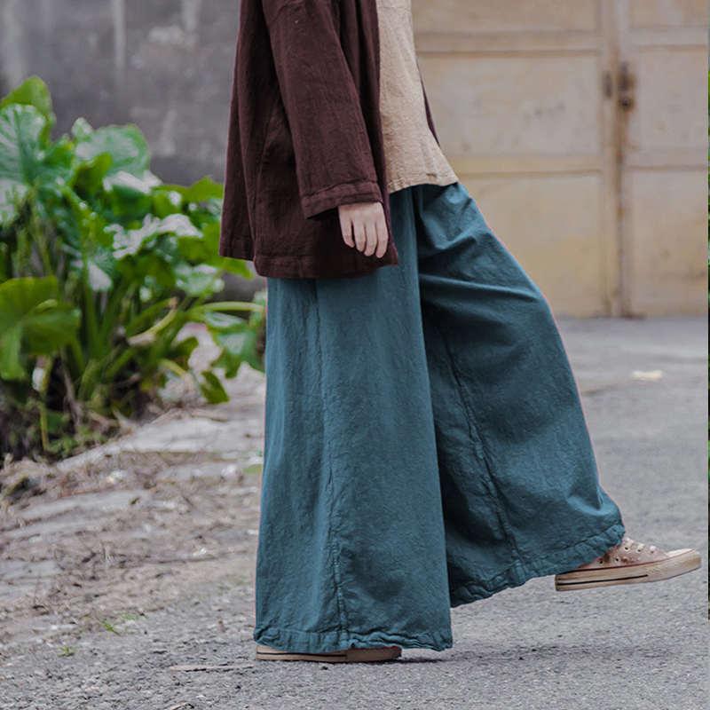 Outono novo ler projeto original de algodão e linho fresco sen arte fazer velho do vintage das mulheres soltas casuais calças largas calças perna